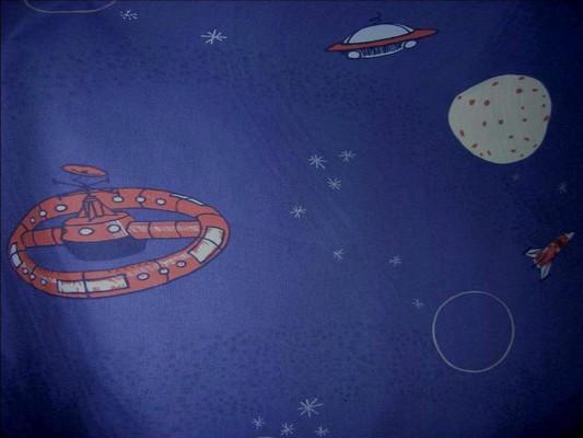 Coton bleu nuit imprime engins spatiaux 2