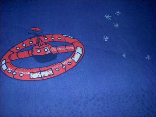 Coton bleu nuit imprime engins spatiaux 3