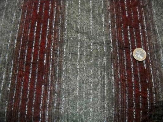 Coton bordeaux gris perle raye lurex