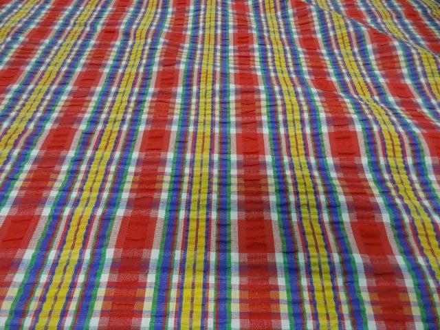 Coton cloque madras rouge jaune