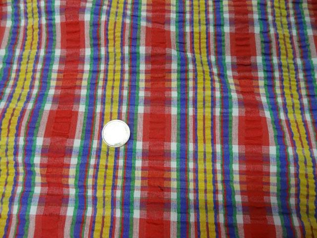 Coton cloque madras rouge jaune 1