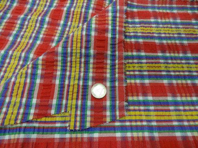 Coton cloque madras rouge jaune 2