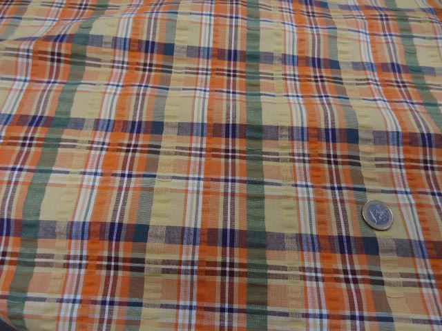 Coton cloque motif madras jaune pale et orange