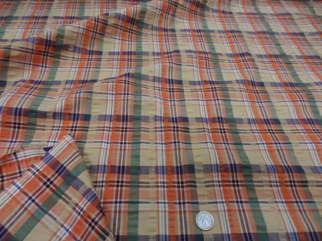 Coton cloque motif madras jaune pale et orange 3