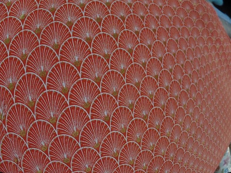 Coton corail blanc or art deco japonais 1