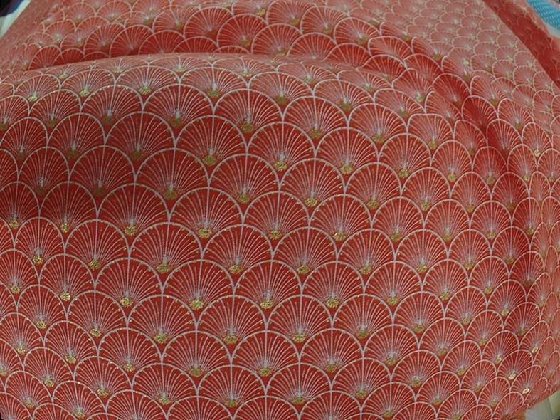 Coton corail blanc or art deco japonais 2