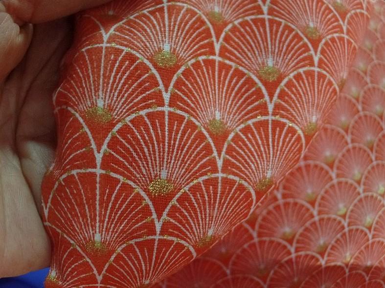 Coton corail blanc or art deco japonais 3