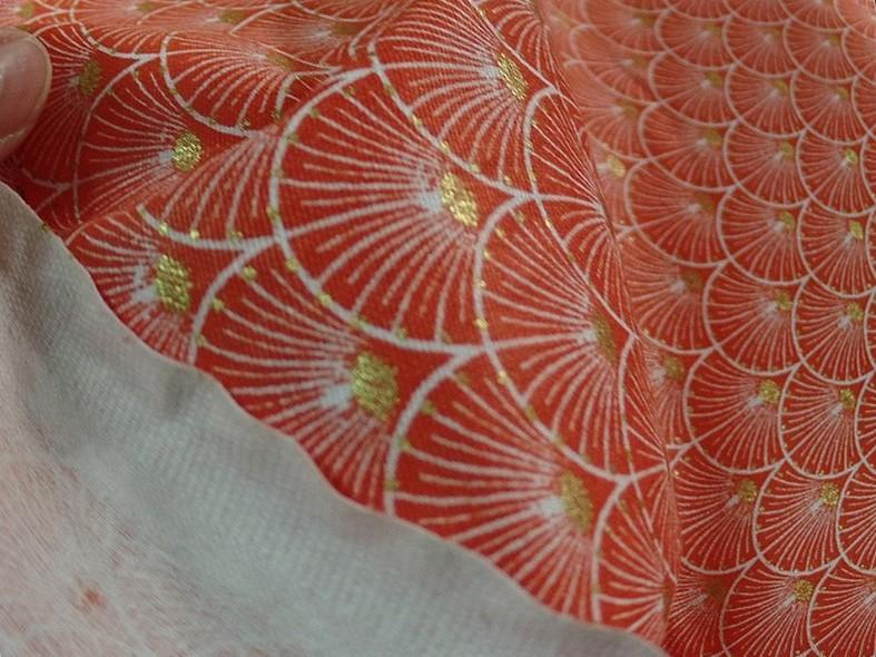 Coton corail blanc or art deco japonais 4