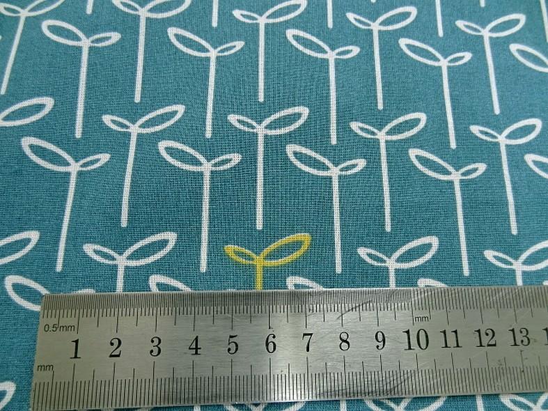 Coton fin apprete bleu canard fleuri 2