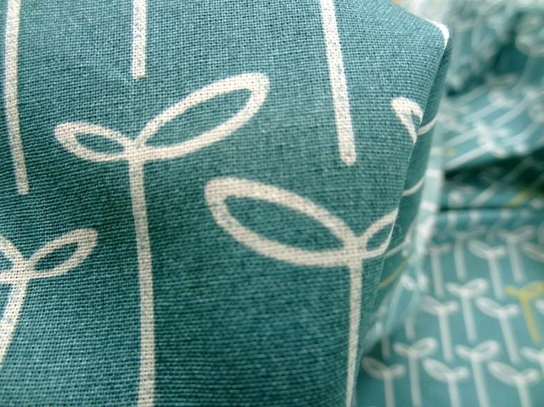 Coton fin apprete bleu canard fleuri 4