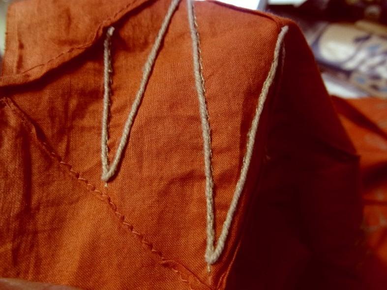 Coton fin ecrevisse coutures arlequin et fil de lin 3