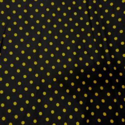 Coton fin noir imprime pois jaune 0 1
