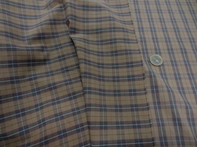 Coton fin taupe carreaux marron bleu