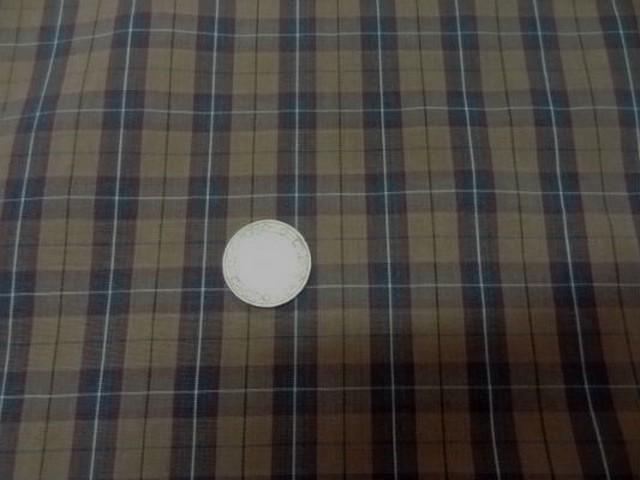 Coton fin taupe carreaux marron bleu2 1