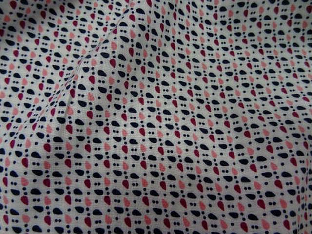 Coton fond blanc points et gouttes 2