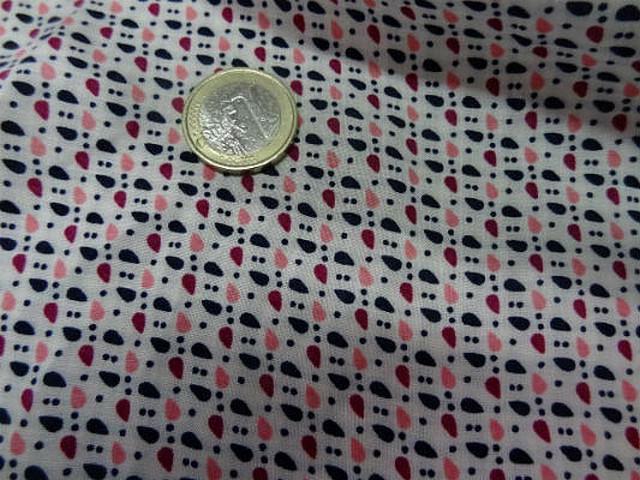 Coton fond blanc points et gouttes 3