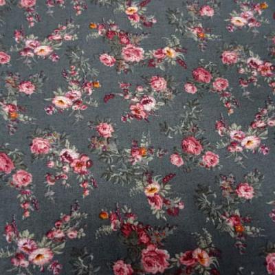 Coton gris moyen fleurs liberty rose 2