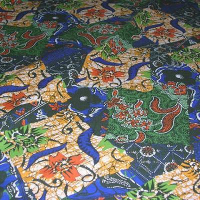 Coton imprime africain bleu vert 1