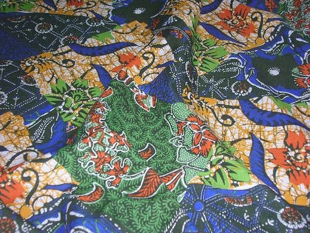 Coton imprime africain bleu vert 2