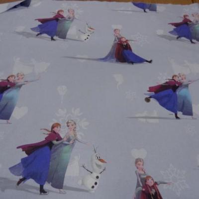 Coton imprime enfant bleu reine des neiges2