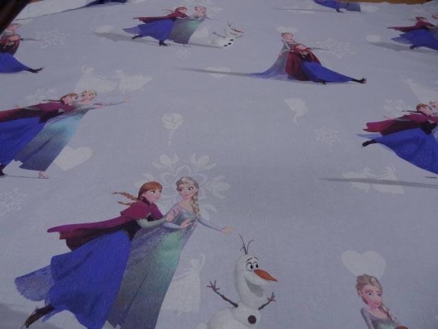 Coton imprime enfant bleu reine des neiges5