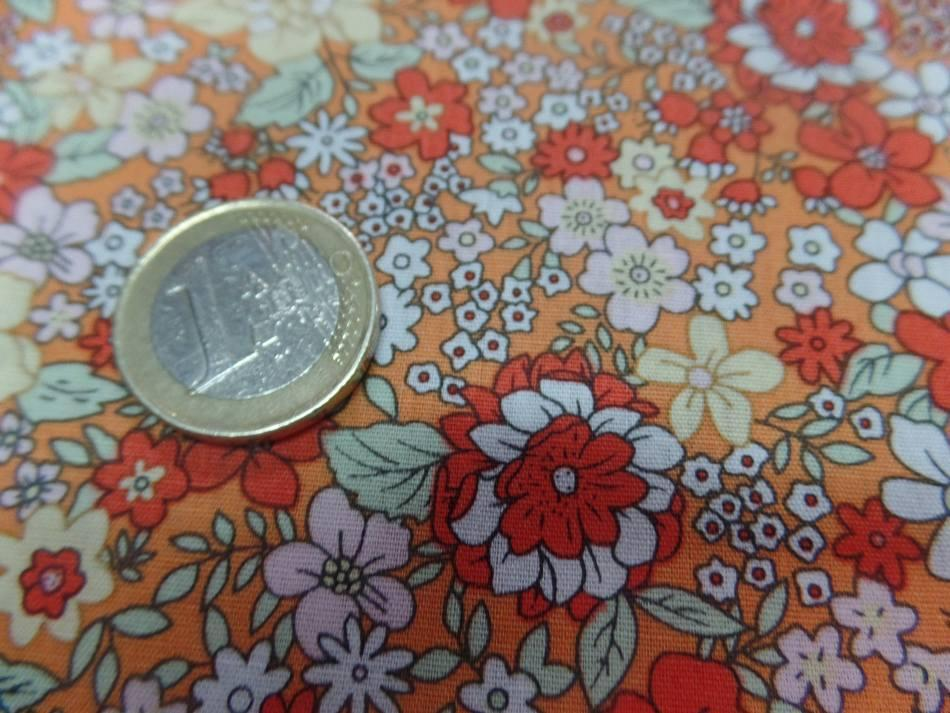 coton imprimé petite fleurs ton orange