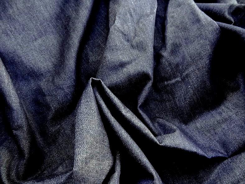 Coton jean fin chemise bleu stone