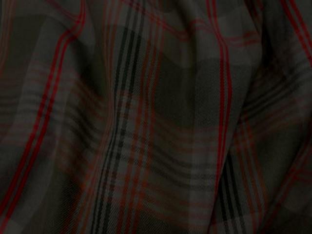 Coton kaki rouge imprime tartan 3