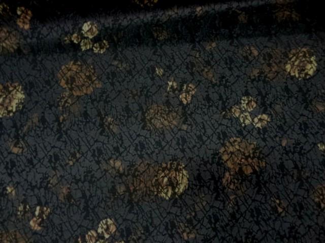 Coton lycra faconne tons noir marron 2