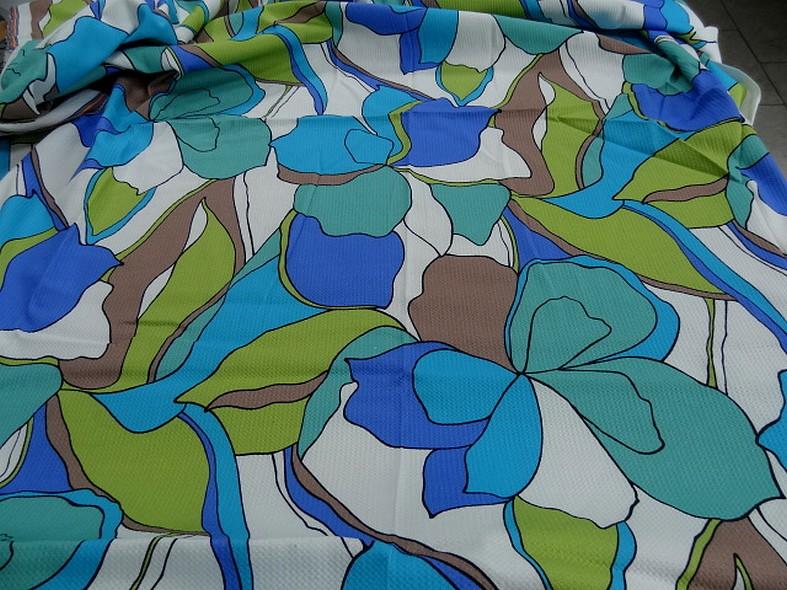 Coton lycra tissage nid d abeille fleurs vintage bleu vert 1