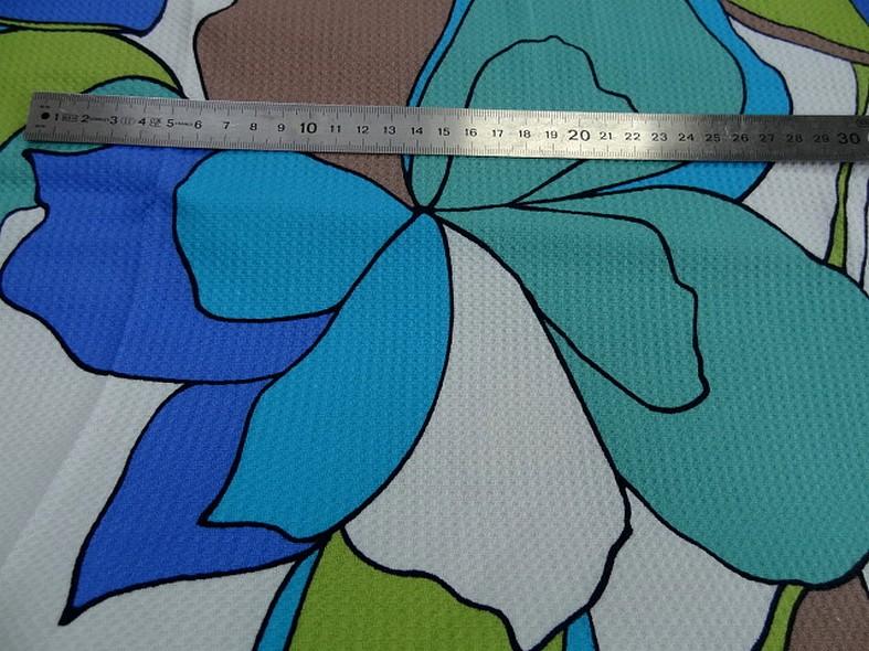 Coton lycra tissage nid d abeille fleurs vintage bleu vert 2