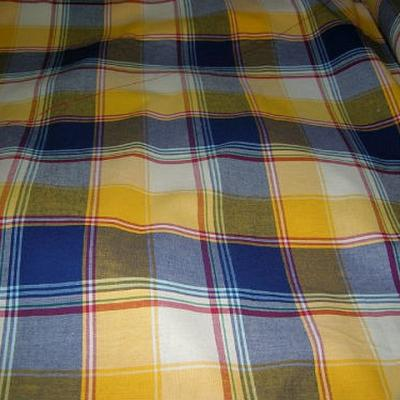 Coton madras jaune d or bleu klein 2
