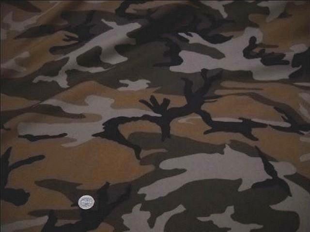tissu coton motif camouflage caramel et chaudron