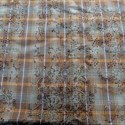 Coton motif carreaux tisses fines fleurs imprimees 1