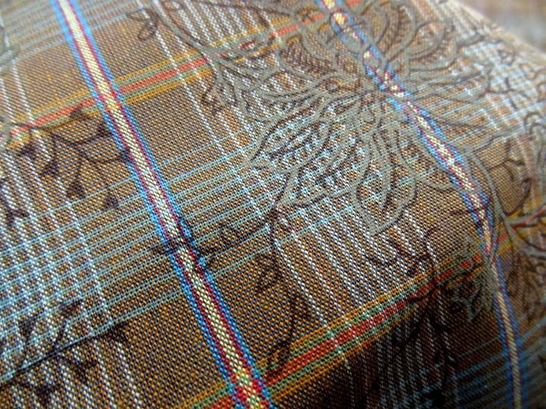 Coton motif carreaux tisses fines fleurs imprimees 3