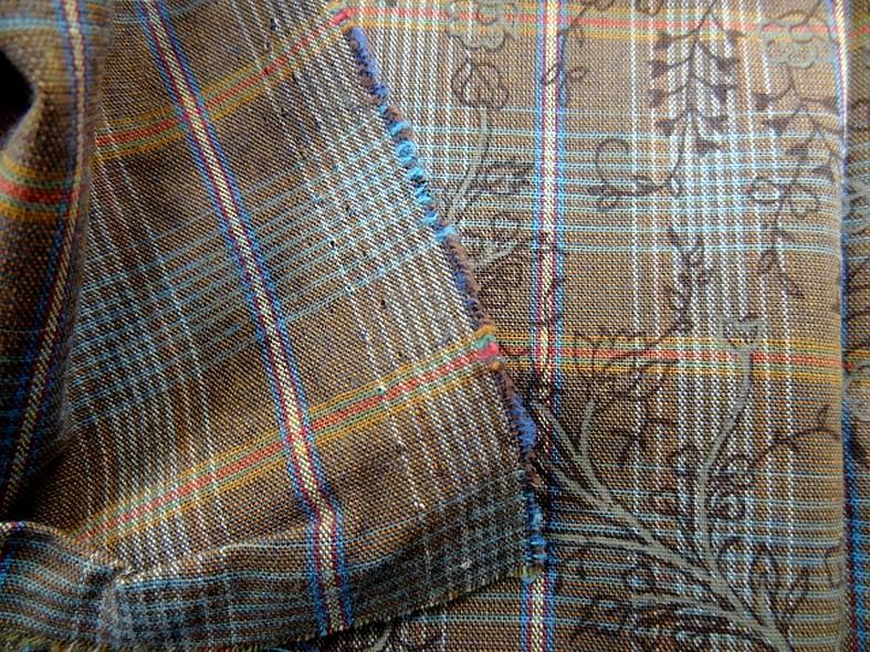 Coton motif carreaux tisses fines fleurs imprimees 4