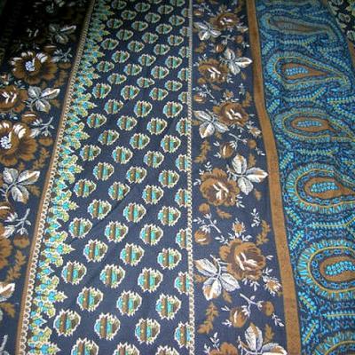 Coton motif frises cachemire bleu chaudron 1