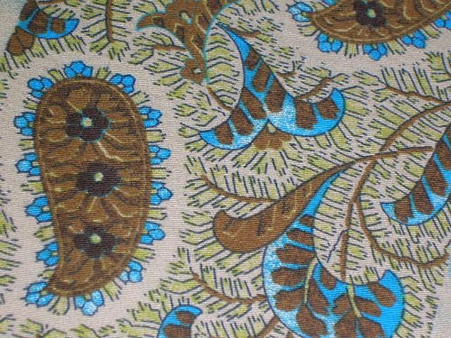 Coton motif frises cachemire bleu chaudron 3