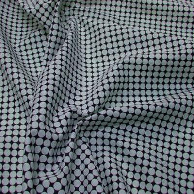 Coton noir fin motif pois en geometrie blanc 1