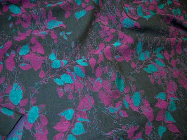 Coton polyamide feuillage damasse turquoise et fuchsia 3