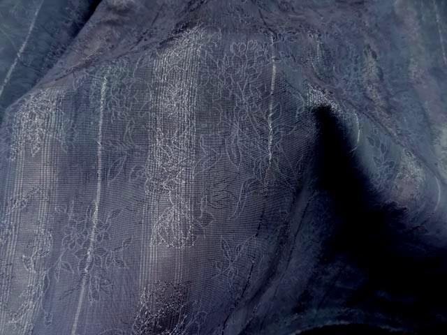 Coton polyester raye bleu gris fondu 1