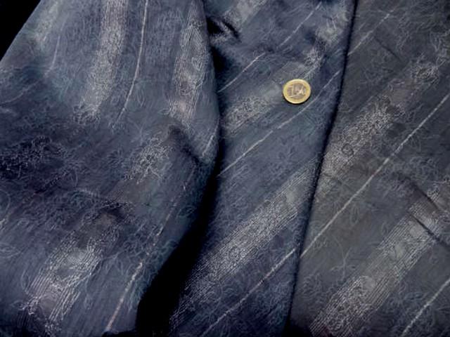 Coton polyester raye bleu gris fondu 2