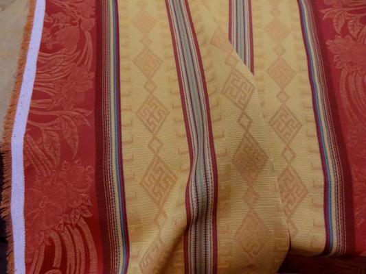 Coton polyester rayures safran jaune paille 2