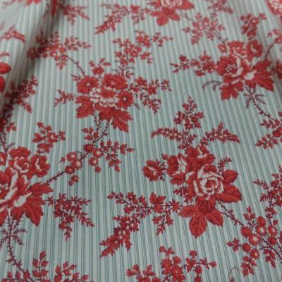 Coton popeline blanc cassé rayé motifs fleurs