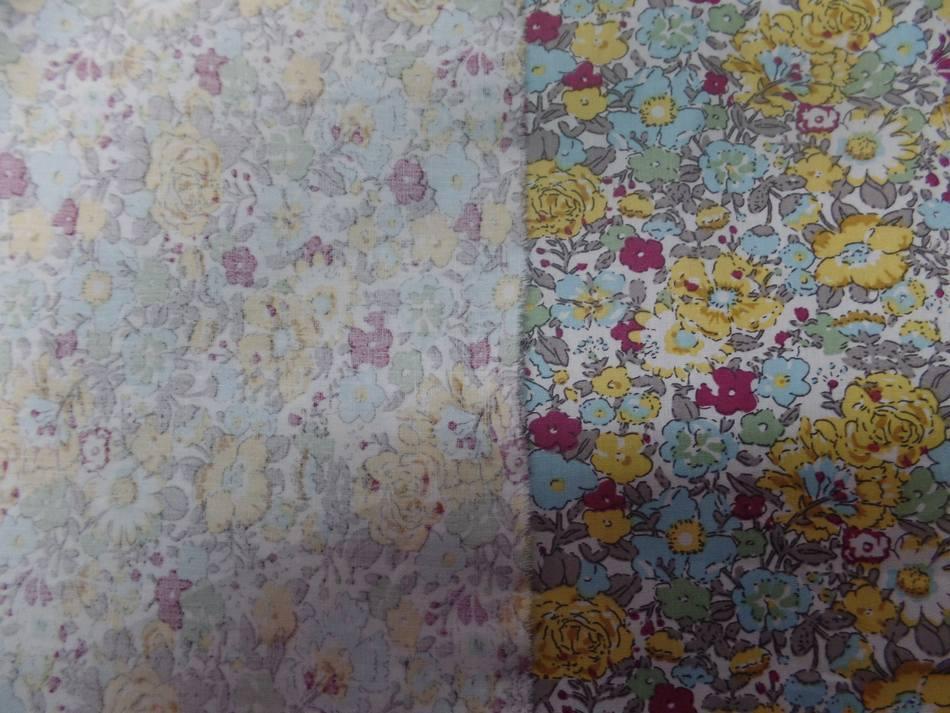coton popeline blanche imprimé style liberty fleurs bleu ,gris ,bordeaux et jaune
