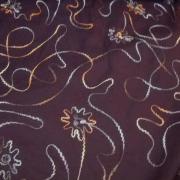 Coton prune broderie fleuri en fil de laine 3