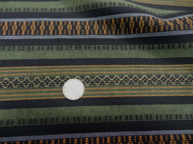 Coton rayures safran kaki trompe l oeil 1