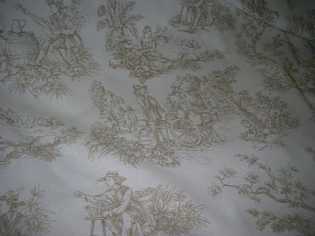 Coton toile de jouy fond blanc casse motifs chamois