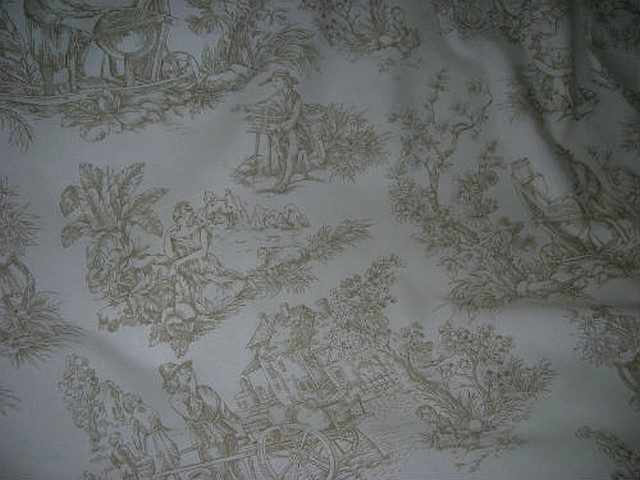 Coton toile de jouy fond blanc casse motifs chamois 1