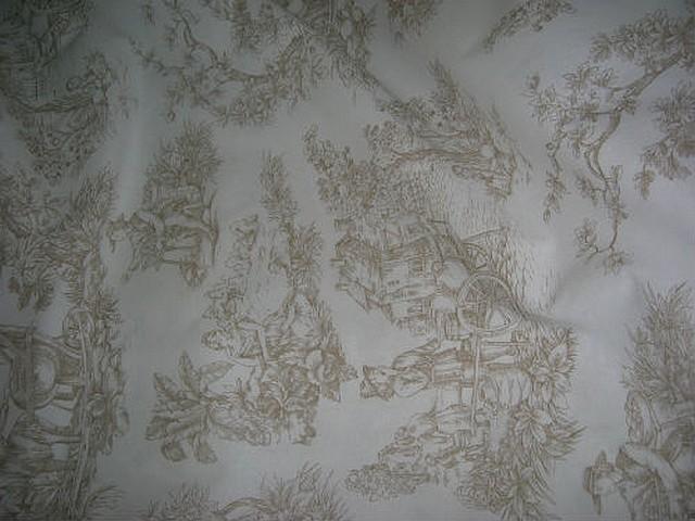 Coton toile de jouy fond blanc casse motifs chamois 2